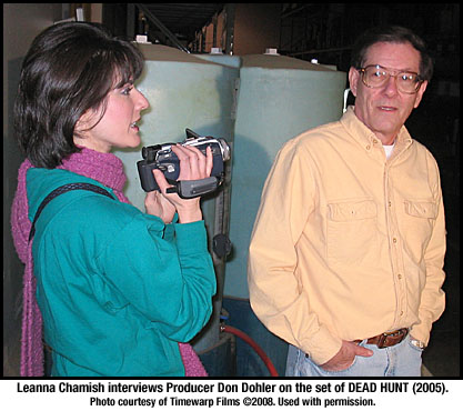 Leanna Chamish interviews Don Dohler on the set of DEAD HUNT
