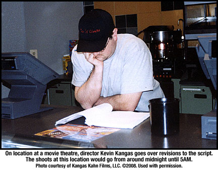 Kevin Kangas goes over his script
