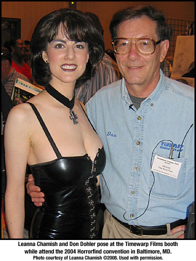 Leanna Chamish and Don Dohler at Timewarp Films booth at Horrorfind