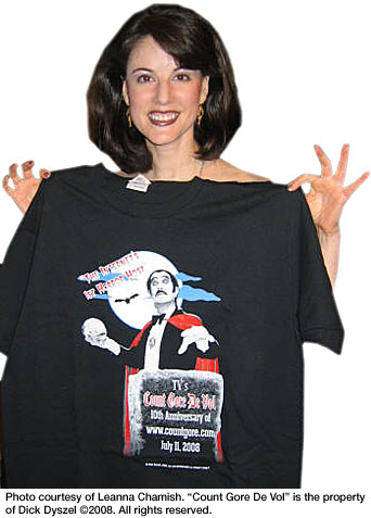 Leanna Chamish with Count Gore T-shirt