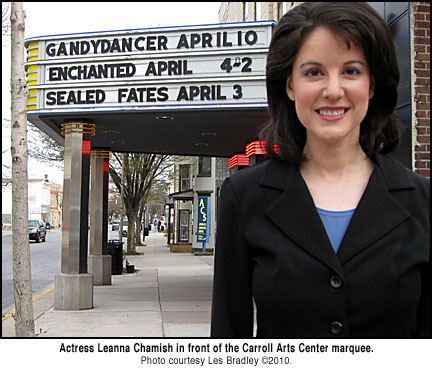 Leanna Chamish in front of Carroll Arts center marquee