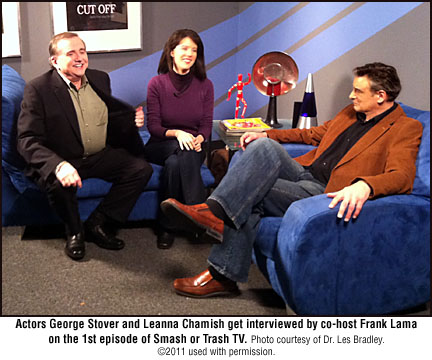 George Stover, Leanna Chamish and Frank Lama on the set of Smash or Trash